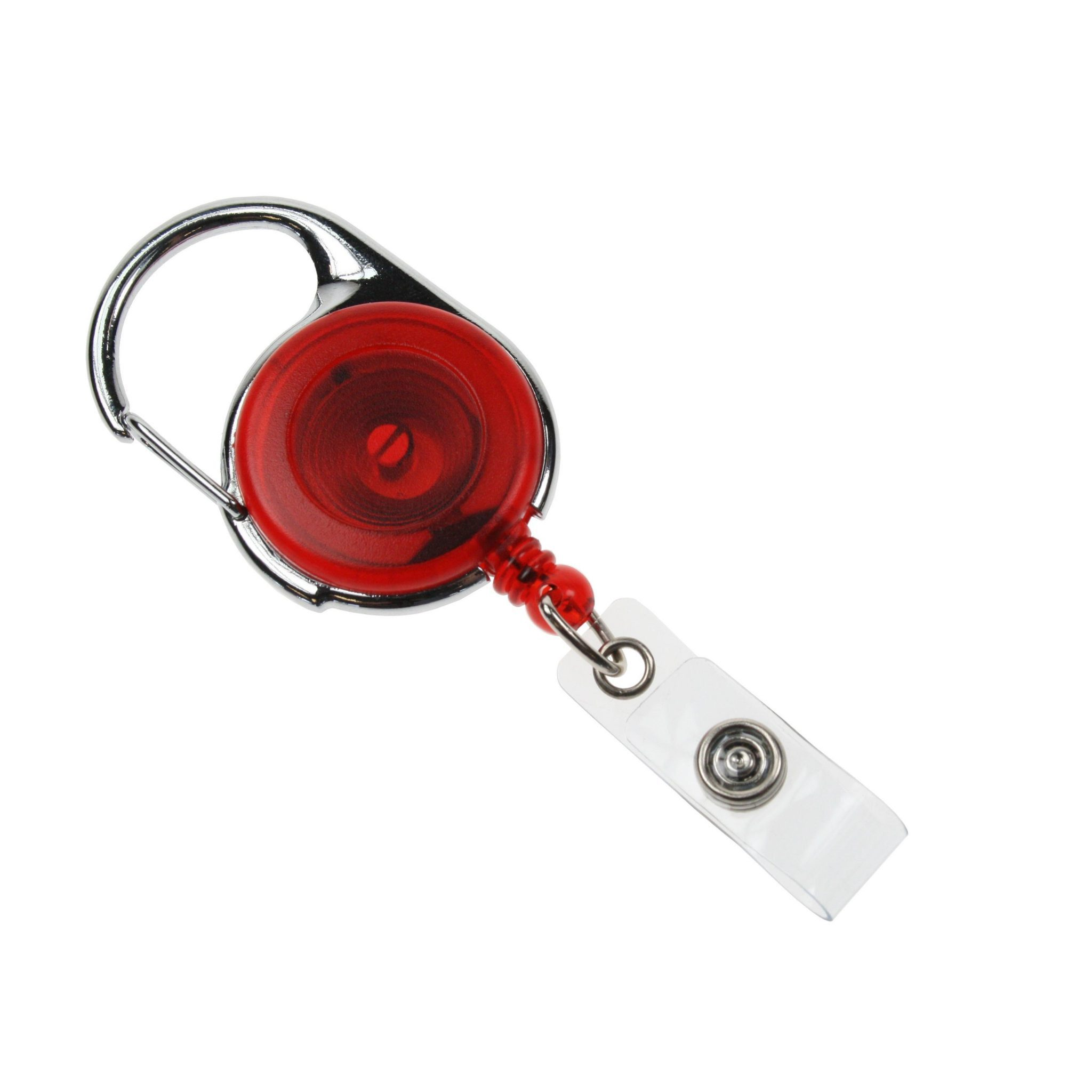 RED TRANSLUCENT CARABINEER CARD REEL